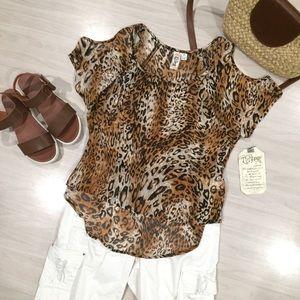 NWT leopard animal print cold shoulder top